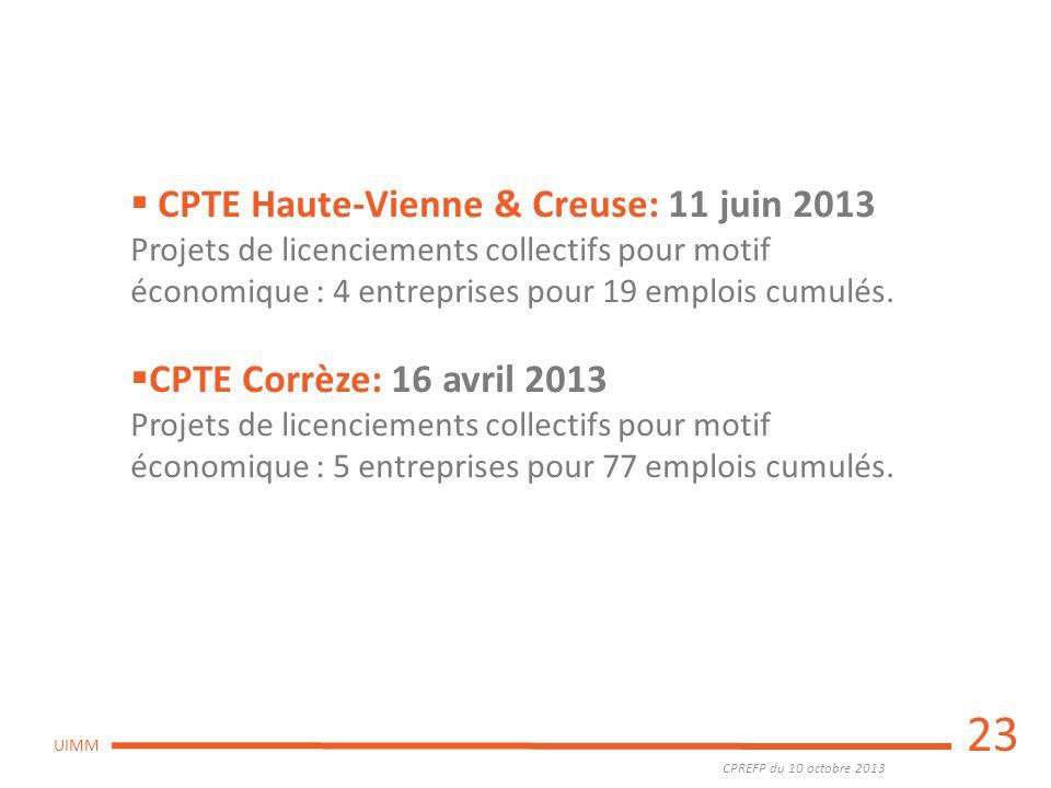 CPREFP du 10 octobre 2013 UIMM 23 CPTE Haute-Vienne & Creuse: 11 juin 2013 Projets de licenciements collectifs pour motif économique : 4 entreprises p