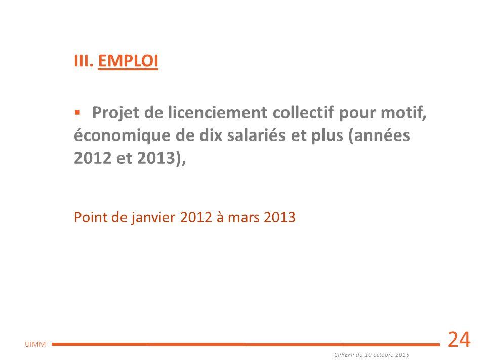 CPREFP du 10 octobre 2013 UIMM 24 Projet de licenciement collectif pour motif, économique de dix salariés et plus (années 2012 et 2013), Point de janv