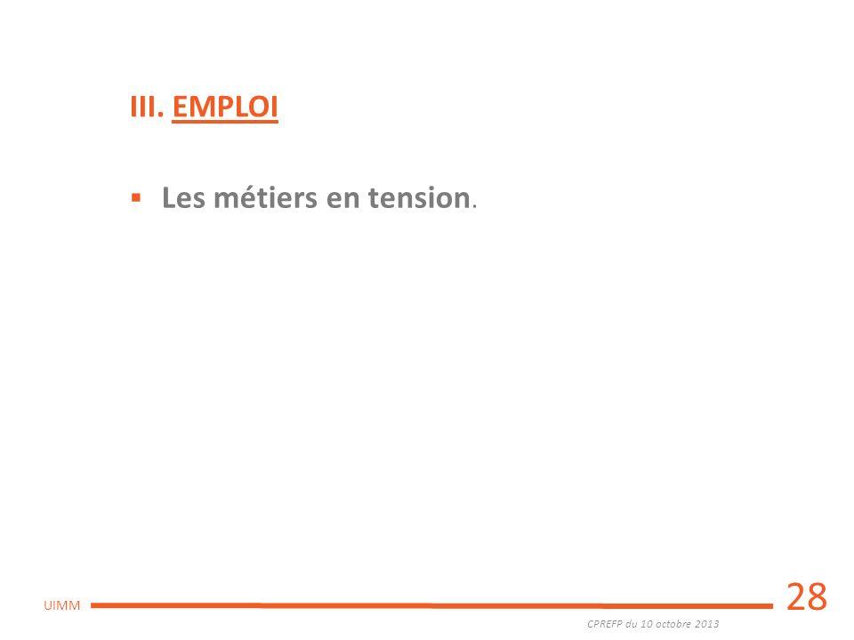 CPREFP du 10 octobre 2013 UIMM 28 Les métiers en tension. III. EMPLOI