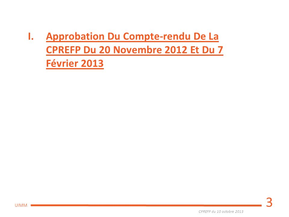 CPREFP du 10 octobre 2013 UIMM LE MARCHE DE L EMPLOI EN LIMOUSIN (Dernière réunion du Service Public de l Emploi Régional du 18 /7) 49 576 demandeurs demploi en Limousin Nouvelle hausse de la demande demploi globale : +0,1% (-0,1% niveau national) ; +8,7% depuis 1 an Part des jeunes : 17,1% (0,6% de plus quau national) Part des séniors : 22,4% (1,1% de plus quau national) Part des DE longue durée : 42,6% (2,4% de plus quau national) Part des DE handicapés: 8% (idem national) 14