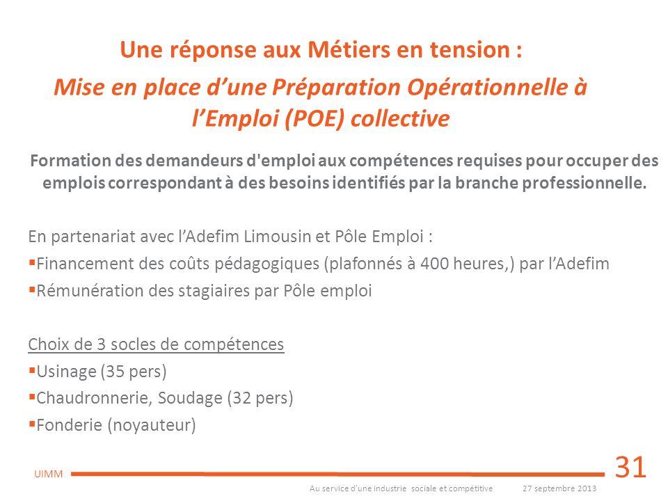 Au service dune industrie sociale et compétitive27 septembre 2013 UIMM Formation des demandeurs d'emploi aux compétences requises pour occuper des emp