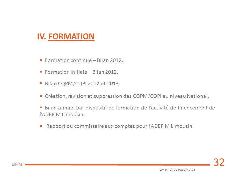 CPREFP du 10 octobre 2013 UIMM 32 IV. FORMATION Formation continue – Bilan 2012, Formation initiale – Bilan 2012, Bilan CQPM/CQPI 2012 et 2013, Créati