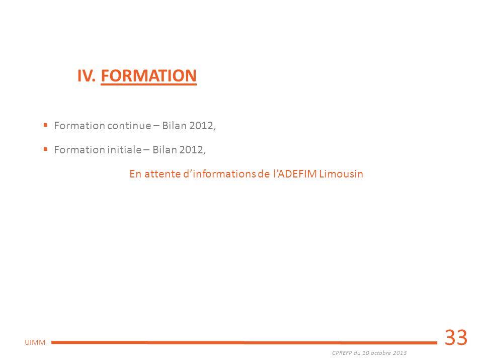 CPREFP du 10 octobre 2013 UIMM 33 IV. FORMATION Formation continue – Bilan 2012, Formation initiale – Bilan 2012, En attente dinformations de lADEFIM
