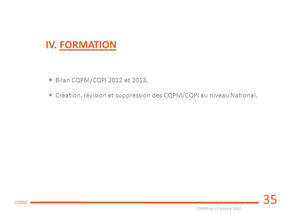 CPREFP du 10 octobre 2013 UIMM 35 IV. FORMATION Bilan CQPM/CQPI 2012 et 2013, Création, révision et suppression des CQPM/CQPI au niveau National,