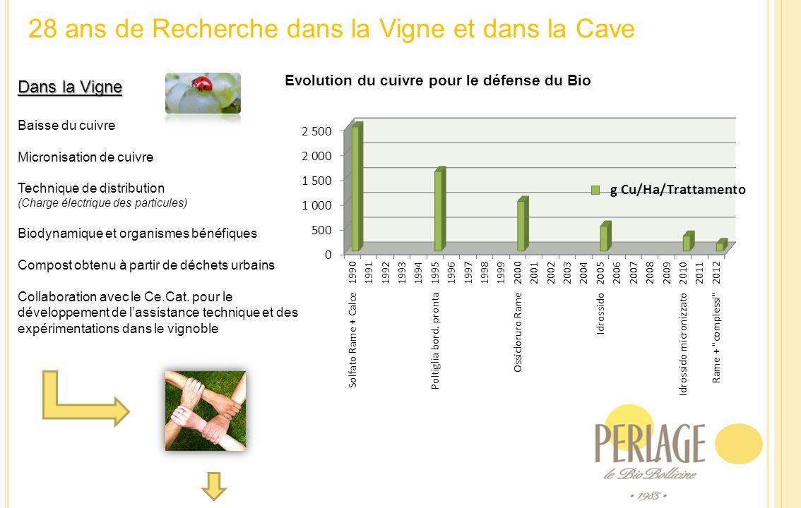 28 ans de Recherche dans la Vigne et dans la Cave Dans la Vigne Baisse du cuivre Micronisation de cuivre Technique de distribution (Charge électrique des particules) Biodynamique et organismes bénéfiques Compost obtenu à partir de déchets urbains Collaboration avec le Ce.Cat.