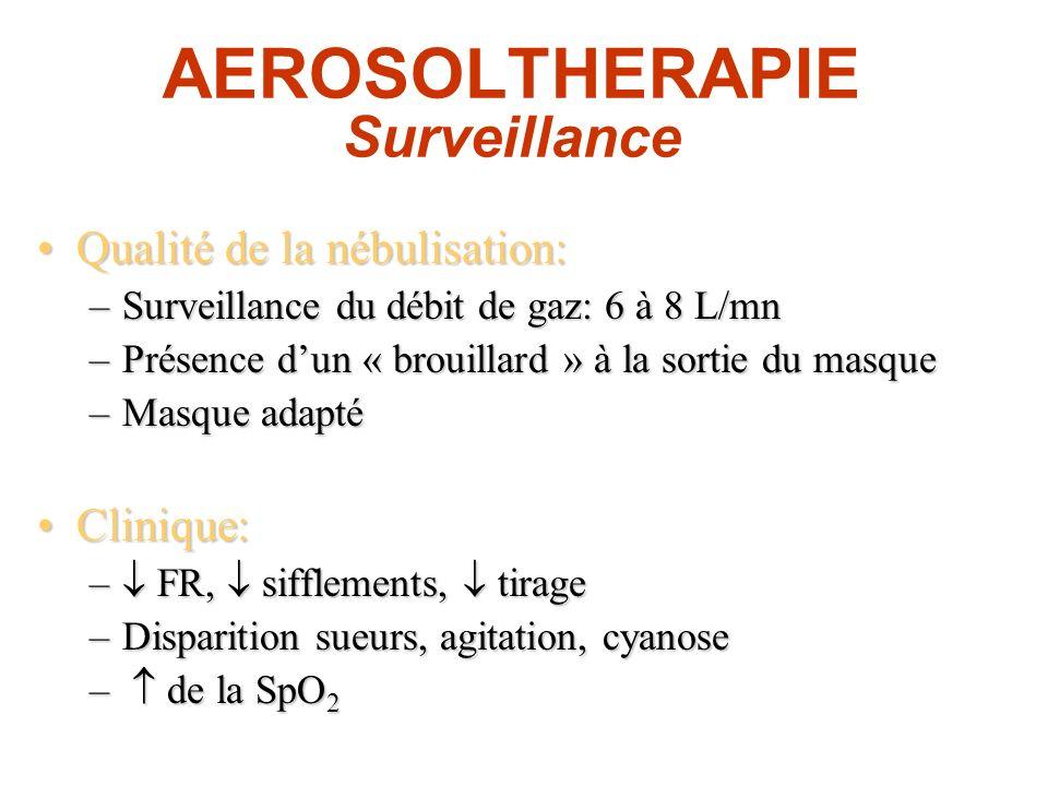 AEROSOLTHERAPIE Surveillance Qualité de la nébulisation:Qualité de la nébulisation: –Surveillance du débit de gaz: 6 à 8 L/mn –Présence dun « brouilla