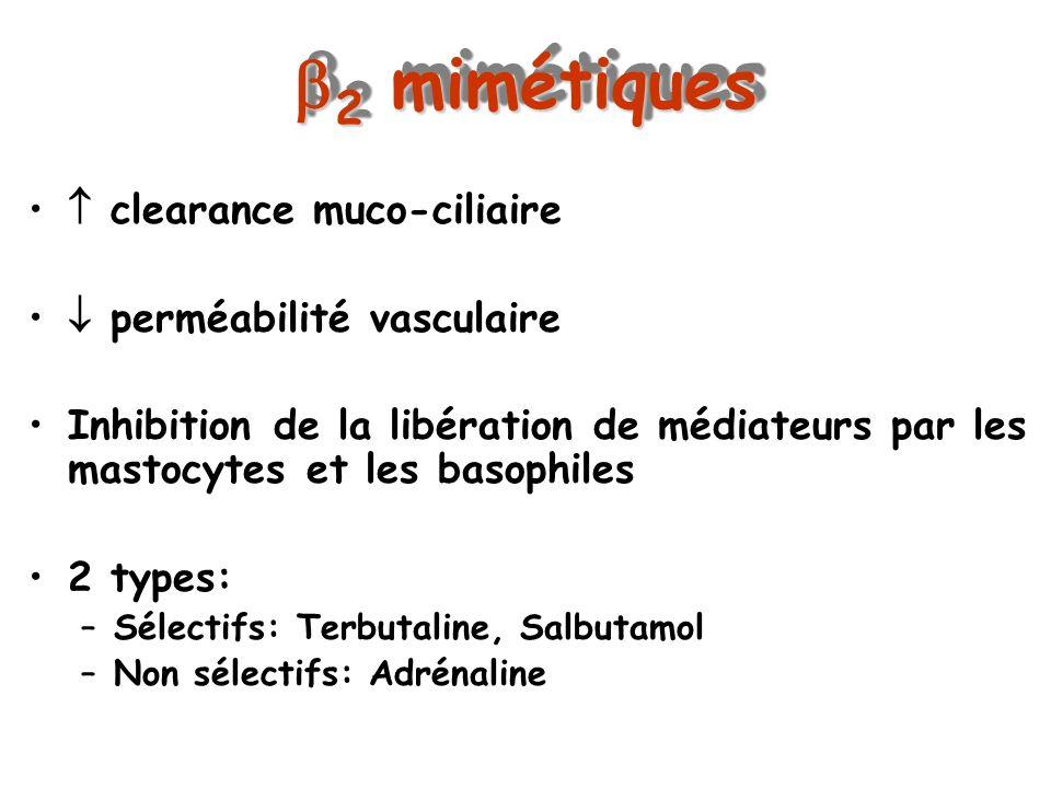 2 mimétiques 2 mimétiques clearance muco-ciliaire perméabilité vasculaire Inhibition de la libération de médiateurs par les mastocytes et les basophil
