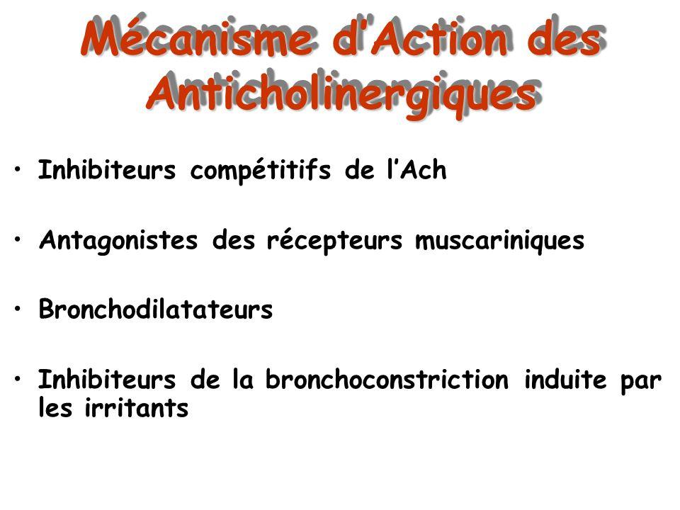 Mécanisme dAction des Anticholinergiques Inhibiteurs compétitifs de lAch Antagonistes des récepteurs muscariniques Bronchodilatateurs Inhibiteurs de l