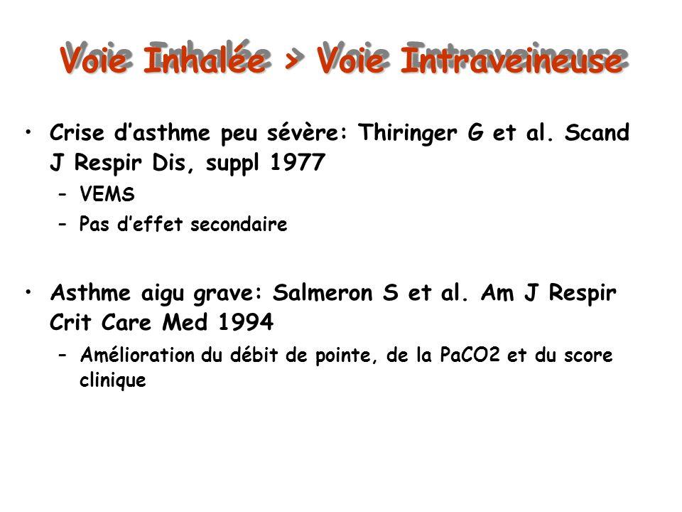 Voie Inhalée > Voie Intraveineuse Crise dasthme peu sévère: Thiringer G et al. Scand J Respir Dis, suppl 1977 –VEMS –Pas deffet secondaire Asthme aigu