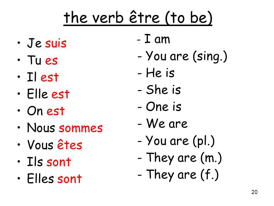 20 the verb être (to be) Je suis Tu es Il est Elle est On est Nous sommes Vous êtes Ils sont Elles sont - I am - You are (sing.) - He is - She is - On