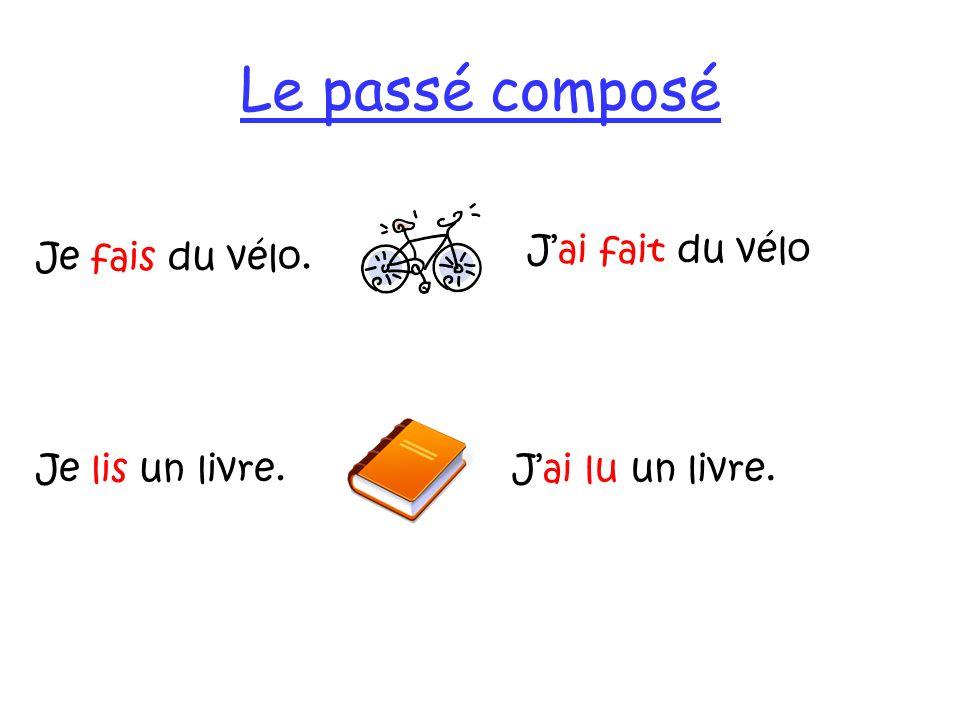 Le passé composé Jai fait du vélo Je fais du vélo. Jai lu un livre.Je lis un livre.