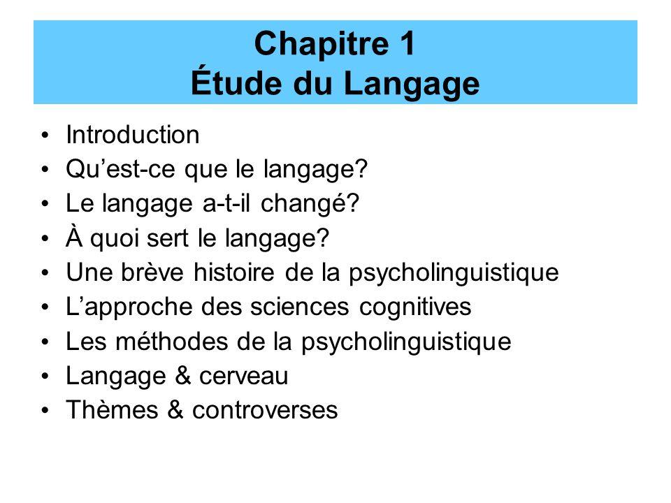 Chapitre 1 Étude du Langage Introduction Quest-ce que le langage? Le langage a-t-il changé? À quoi sert le langage? Une brève histoire de la psycholin