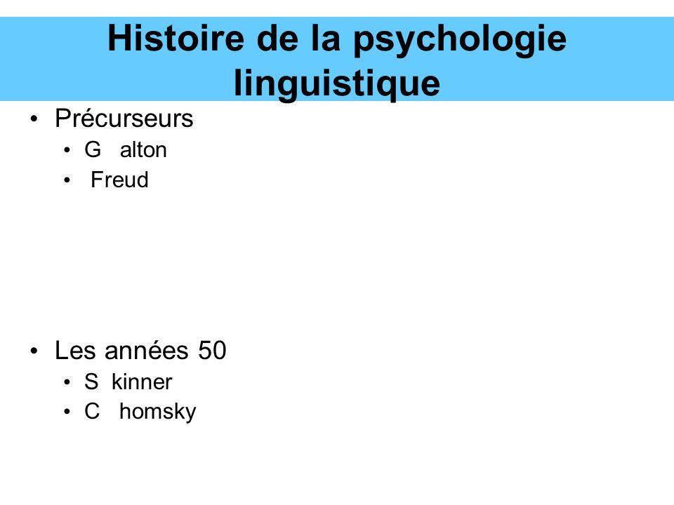 Histoire de la psychologie linguistique Précurseurs G alton Freud Les années 50 S kinner C homsky