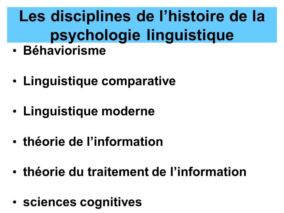 Les disciplines de lhistoire de la psychologie linguistique Béhaviorisme Linguistique comparative Linguistique moderne théorie de linformation théorie du traitement de linformation sciences cognitives