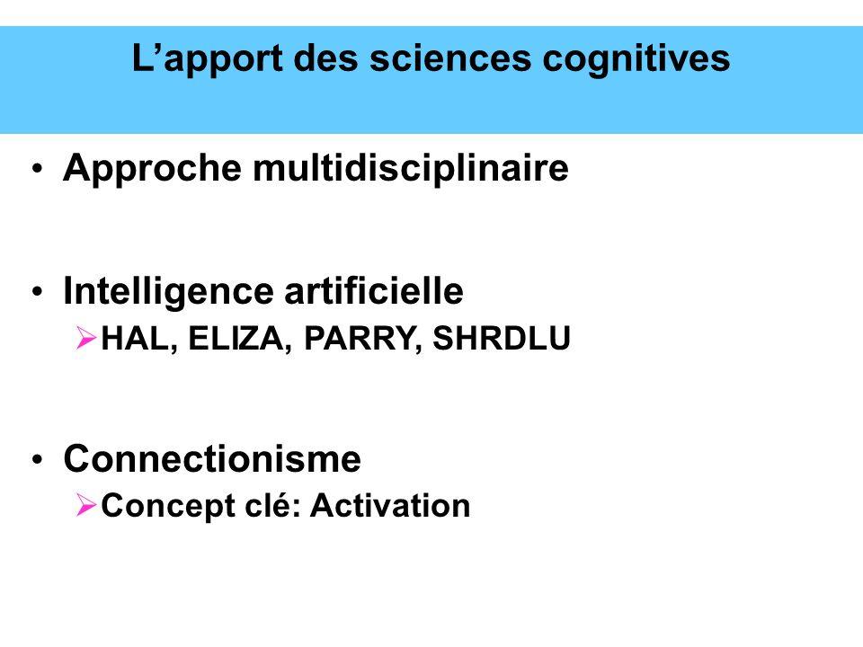 Lapport des sciences cognitives Approche multidisciplinaire Intelligence artificielle HAL, ELIZA, PARRY, SHRDLU Connectionisme Concept clé: Activation