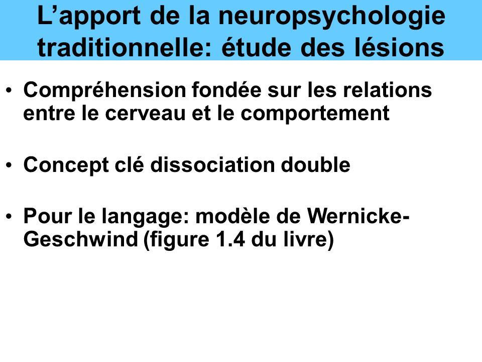 Lapport de la neuropsychologie traditionnelle: étude des lésions Compréhension fondée sur les relations entre le cerveau et le comportement Concept clé dissociation double Pour le langage: modèle de Wernicke- Geschwind (figure 1.4 du livre)