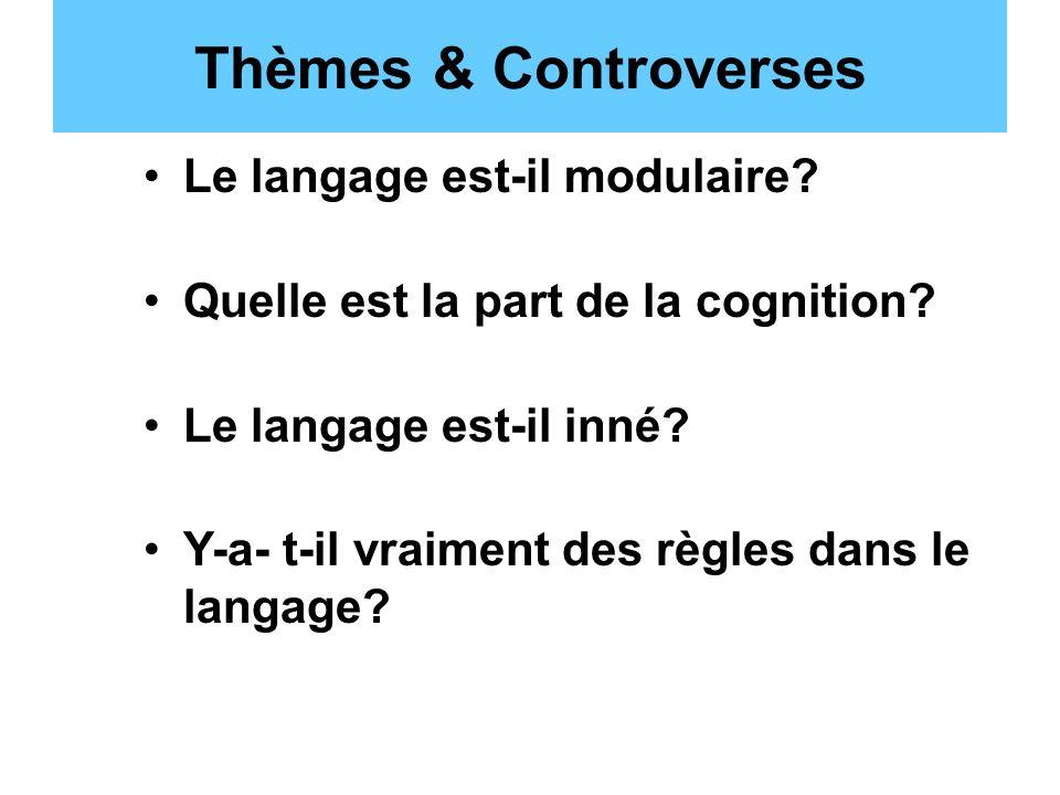 Thèmes & Controverses Le langage est-il modulaire? Quelle est la part de la cognition? Le langage est-il inné? Y-a- t-il vraiment des règles dans le l