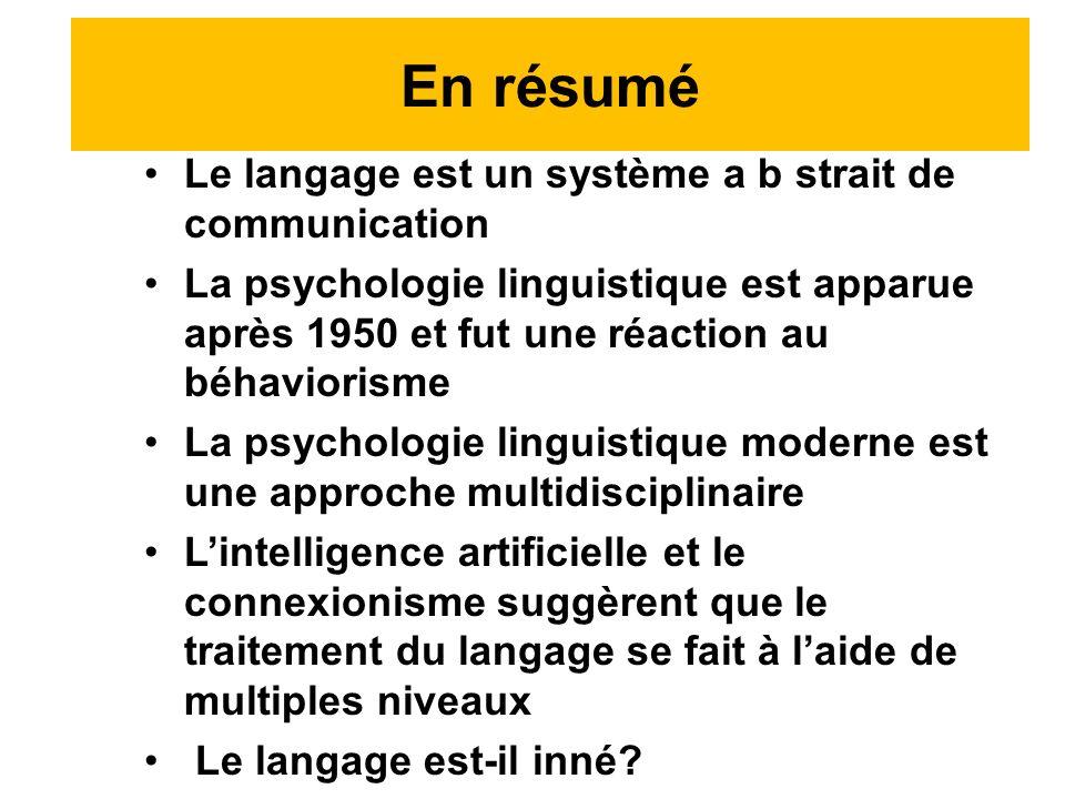 Le langage est un système a b strait de communication La psychologie linguistique est apparue après 1950 et fut une réaction au béhaviorisme La psychologie linguistique moderne est une approche multidisciplinaire Lintelligence artificielle et le connexionisme suggèrent que le traitement du langage se fait à laide de multiples niveaux Le langage est-il inné.
