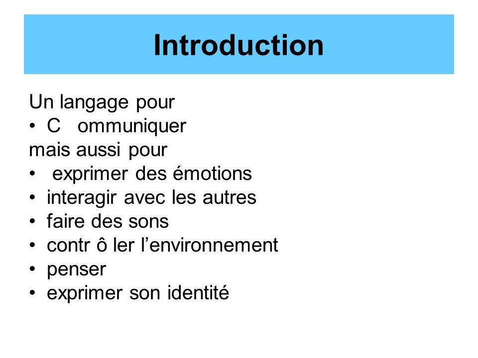 Introduction Un langage pour C ommuniquer mais aussi pour exprimer des émotions interagir avec les autres faire des sons contr ô ler lenvironnement penser exprimer son identité