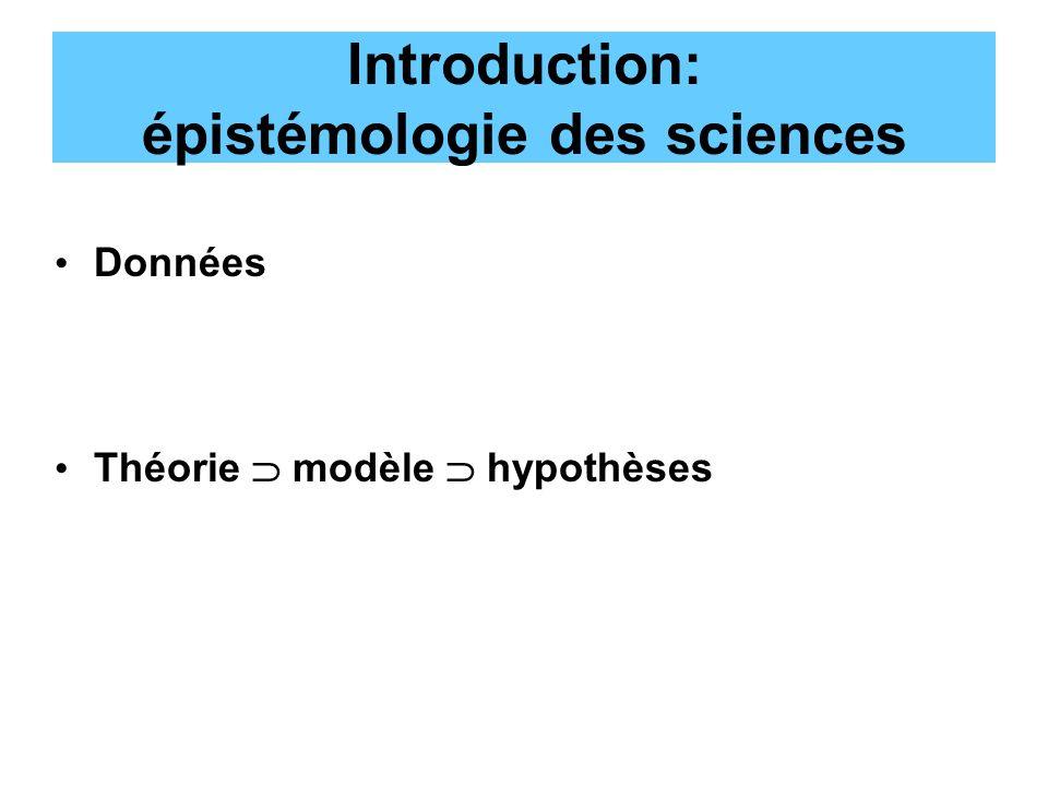 Introduction: épistémologie des sciences Données Théorie modèle hypothèses