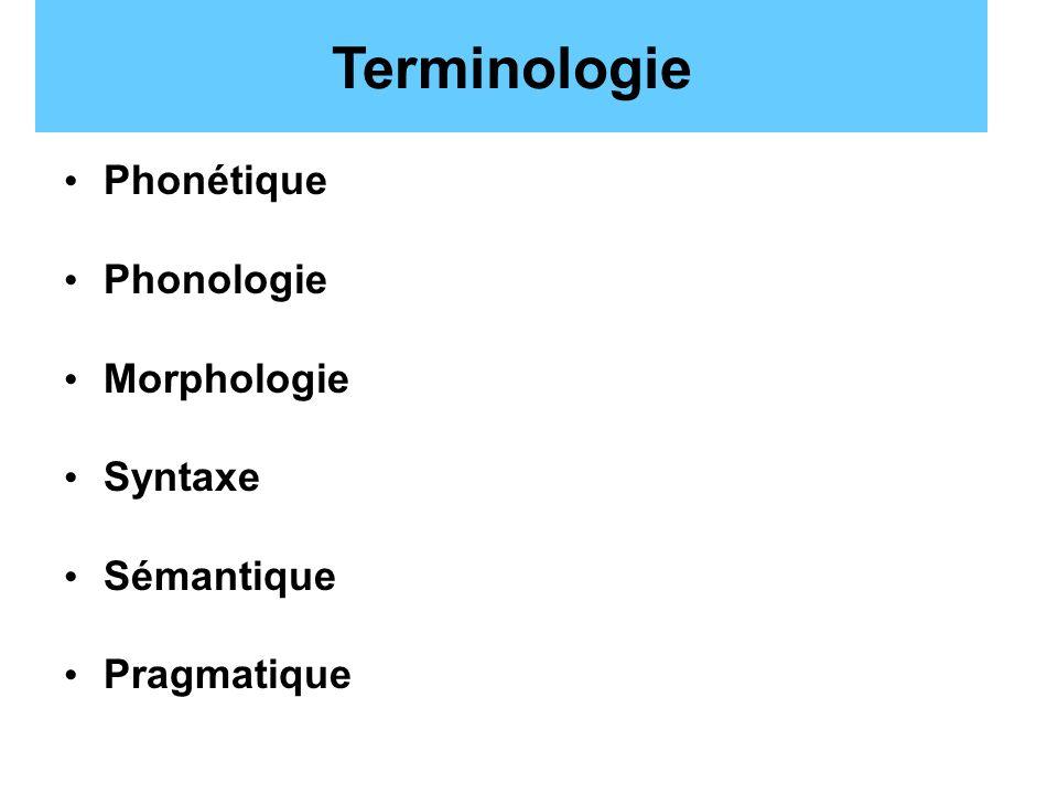 Terminologie Phonétique Phonologie Morphologie Syntaxe Sémantique Pragmatique
