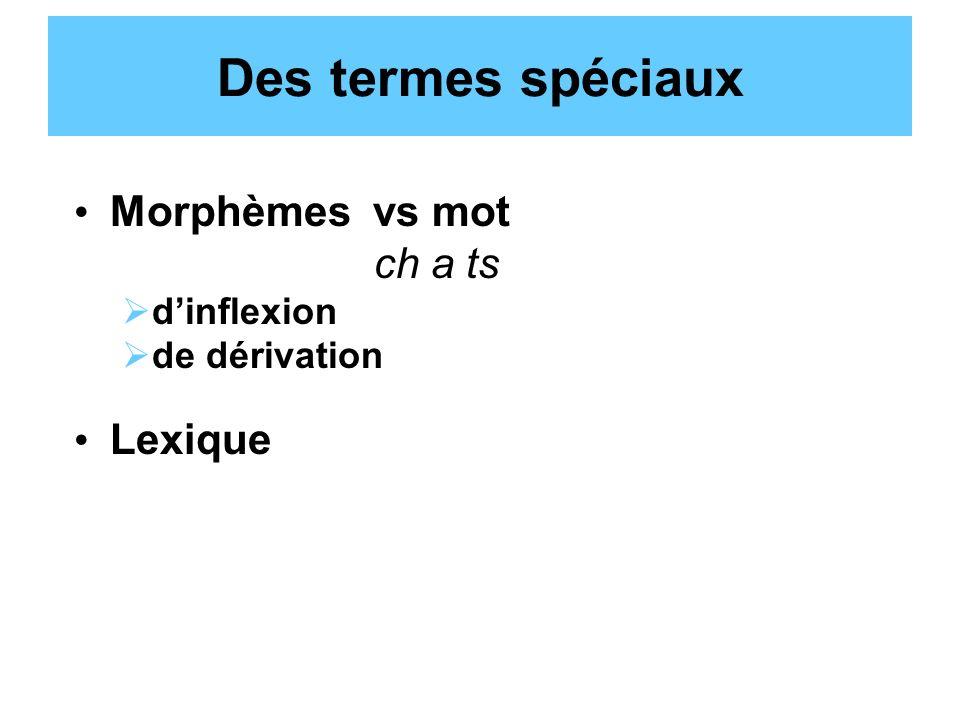 Des termes spéciaux Morphèmes vs mot ch a ts dinflexion de dérivation Lexique