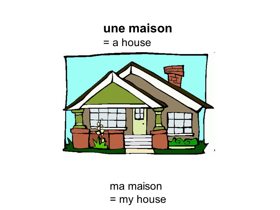 une maison = a house ma maison = my house