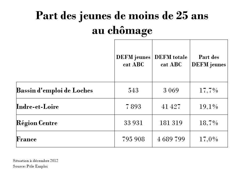 Part des jeunes de moins de 25 ans au chômage DEFM jeunes cat ABC DEFM totale cat ABC Part des DEFM jeunes Bassin d emploi de Loches5433 06917,7% Indre-et-Loire7 89341 42719,1% Région Centre33 931181 31918,7% France795 9084 689 79917,0% Source: Pôle Emploi Situation à décembre 2012