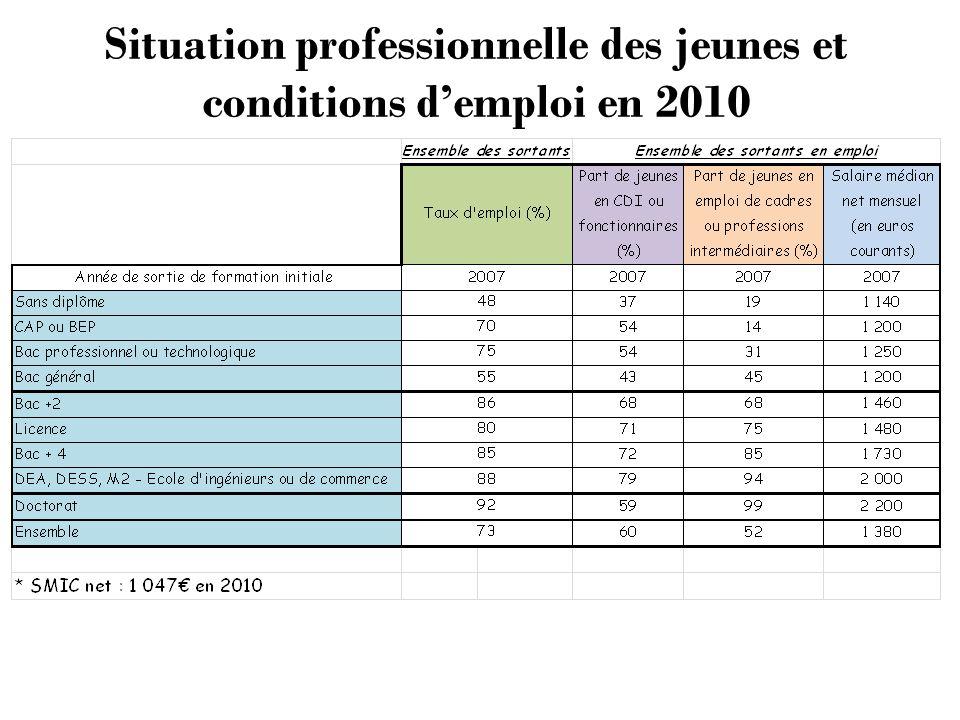 Situation professionnelle des jeunes et conditions demploi en 2010