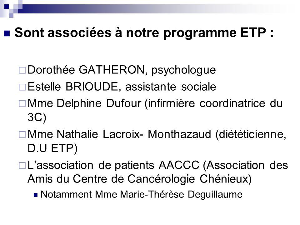 Sont associées à notre programme ETP : Dorothée GATHERON, psychologue Estelle BRIOUDE, assistante sociale Mme Delphine Dufour (infirmière coordinatric