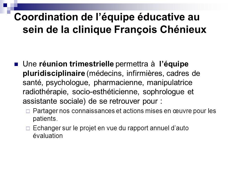 Coordination de léquipe éducative au sein de la clinique François Chénieux Une réunion trimestrielle permettra à léquipe pluridisciplinaire (médecins,