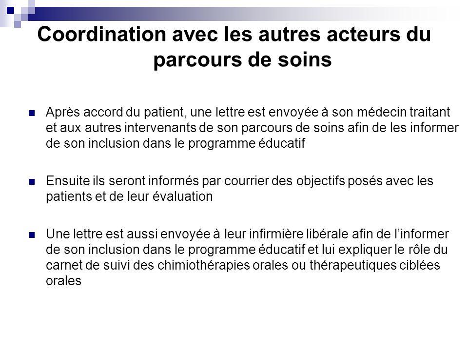 Coordination avec les autres acteurs du parcours de soins Après accord du patient, une lettre est envoyée à son médecin traitant et aux autres interve