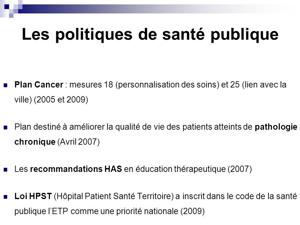 Les politiques de santé publique Plan Cancer : mesures 18 (personnalisation des soins) et 25 (lien avec la ville) (2005 et 2009) Plan destiné à amélio