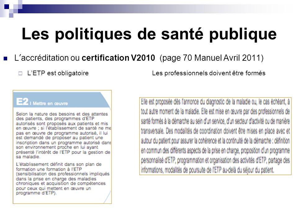 Les politiques de santé publique Laccréditation ou certification V2010 (page 70 Manuel Avril 2011) LETP est obligatoire Les professionnels doivent êtr