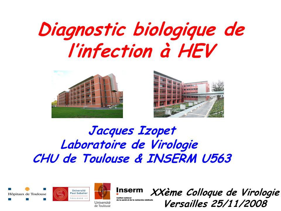 Diagnostic biologique de linfection à HEV XXème Colloque de Virologie Versailles 25/11/2008 Jacques Izopet Laboratoire de Virologie CHU de Toulouse &