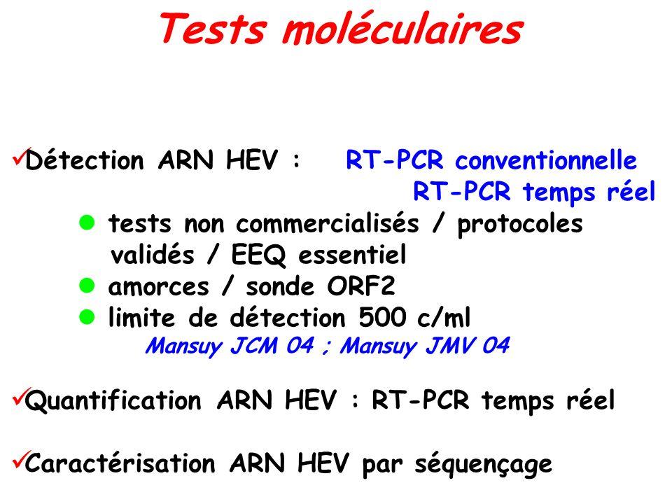 Détection ARN HEV : RT-PCR conventionnelle RT-PCR temps réel tests non commercialisés / protocoles validés / EEQ essentiel amorces / sonde ORF2 limite