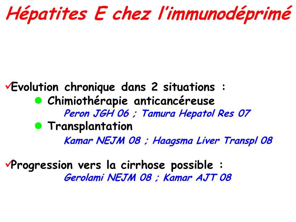 Evolution chronique dans 2 situations : Chimiothérapie anticancéreuse Peron JGH 06 ; Tamura Hepatol Res 07 Transplantation Kamar NEJM 08 ; Haagsma Liv