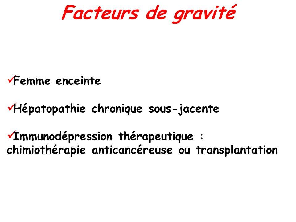 Femme enceinte Hépatopathie chronique sous-jacente Immunodépression thérapeutique : chimiothérapie anticancéreuse ou transplantation Facteurs de gravi