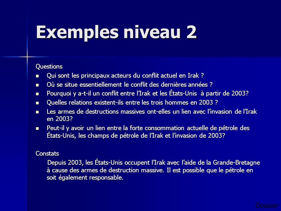 Exemples niveau 2 Questions Qui sont les principaux acteurs du conflit actuel en Irak .