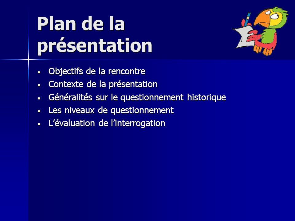 Plan de la présentation Objectifs de la rencontre Objectifs de la rencontre Contexte de la présentation Contexte de la présentation Généralités sur le
