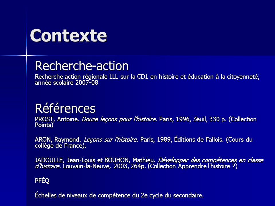 Contexte Recherche-action Recherche action régionale LLL sur la CD1 en histoire et éducation à la citoyenneté, année scolaire 2007-08 Références PROST, Antoine.