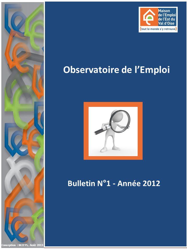 1 A NNÉE 20121 ER T RIMESTRE 2013 1 Observatoire de lEmploi Conception : M2E95, Août 2013 Bulletin N°1 - Année 2012