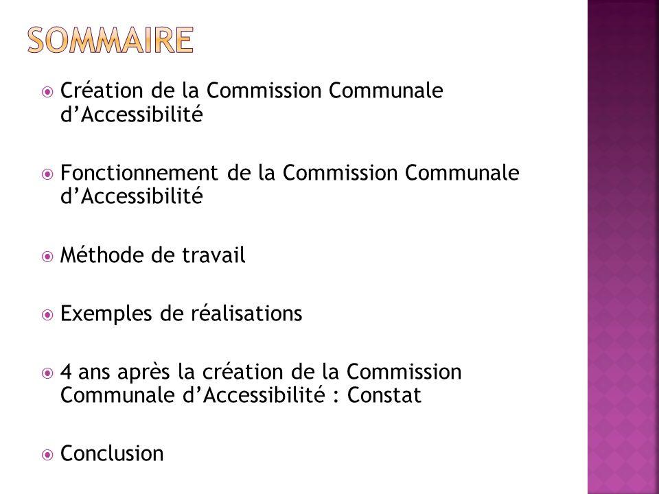 Création de la Commission Communale dAccessibilité Fonctionnement de la Commission Communale dAccessibilité Méthode de travail Exemples de réalisations 4 ans après la création de la Commission Communale dAccessibilité : Constat Conclusion