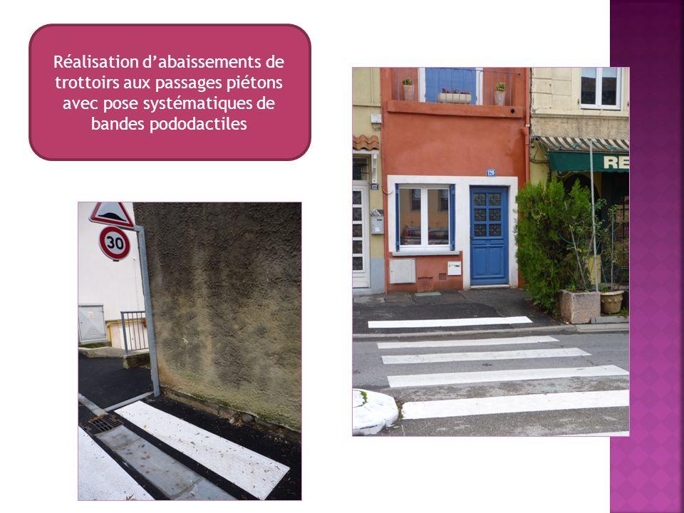 Réalisation dabaissements de trottoirs aux passages piétons avec pose systématiques de bandes pododactiles