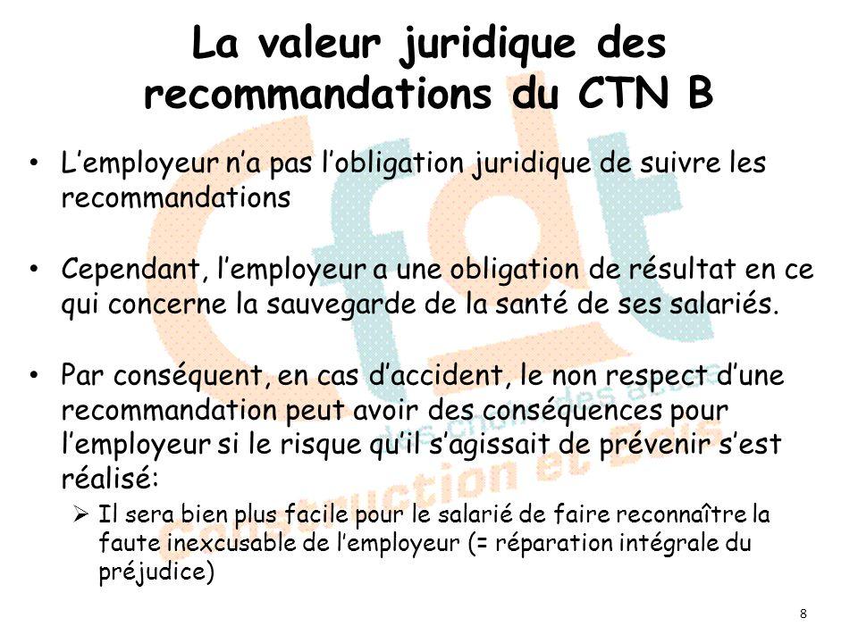 La valeur juridique des recommandations du CTN B Lemployeur na pas lobligation juridique de suivre les recommandations Cependant, lemployeur a une obligation de résultat en ce qui concerne la sauvegarde de la santé de ses salariés.