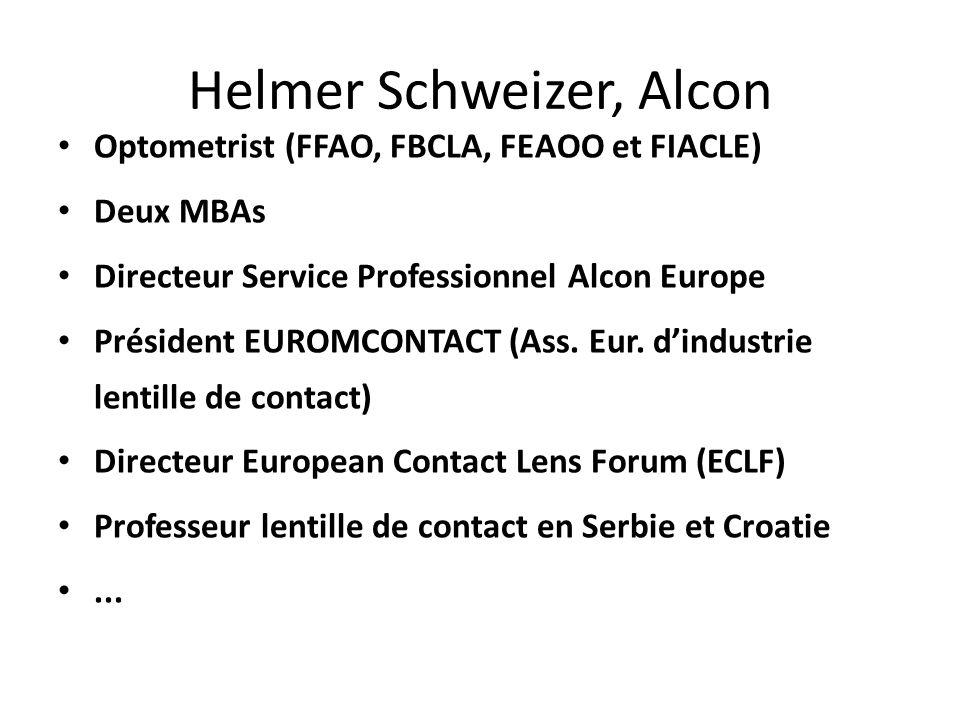 Helmer Schweizer, Alcon Optometrist (FFAO, FBCLA, FEAOO et FIACLE) Deux MBAs Directeur Service Professionnel Alcon Europe Président EUROMCONTACT (Ass.