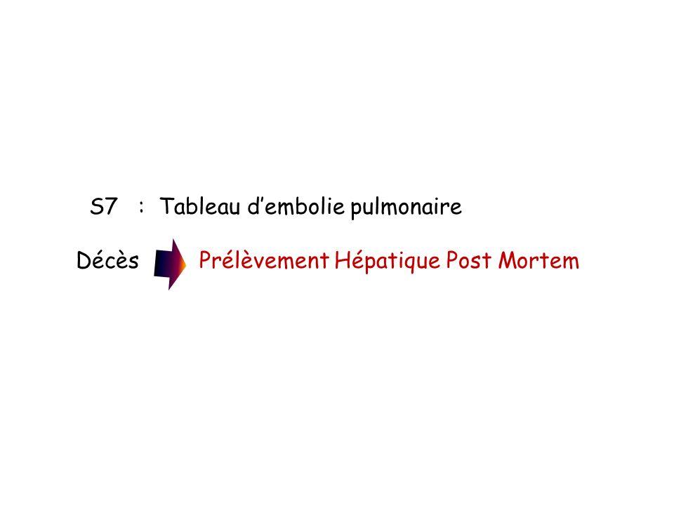 S7 : Tableau dembolie pulmonaire Décès Prélèvement Hépatique Post Mortem