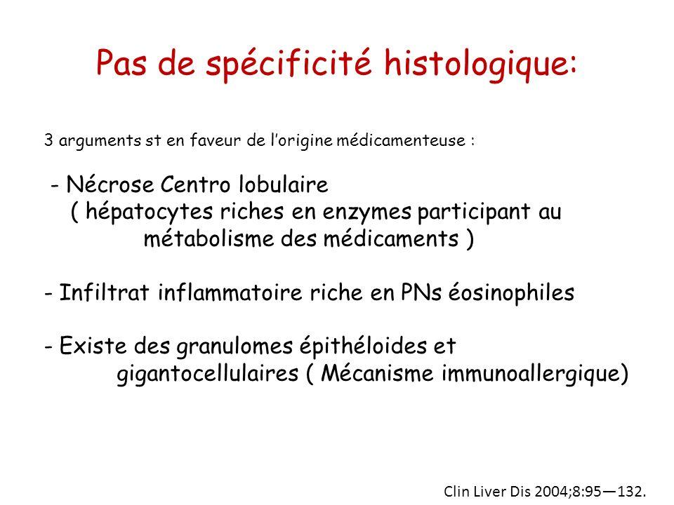 Pas de spécificité histologique: 3 arguments st en faveur de lorigine médicamenteuse : - Nécrose Centro lobulaire ( hépatocytes riches en enzymes part