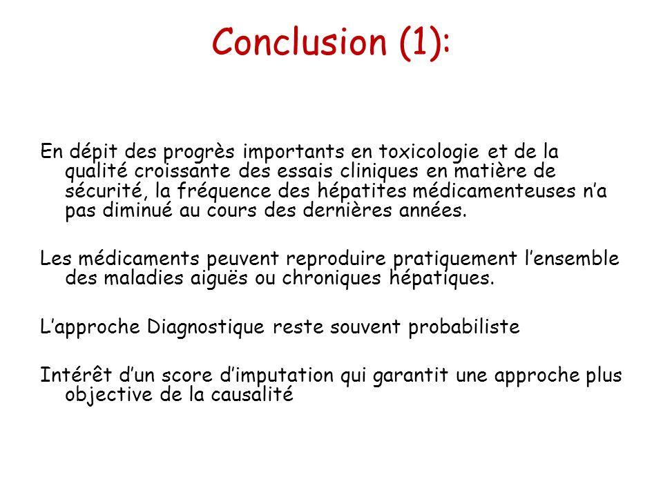 Conclusion (1): En dépit des progrès importants en toxicologie et de la qualité croissante des essais cliniques en matière de sécurité, la fréquence d