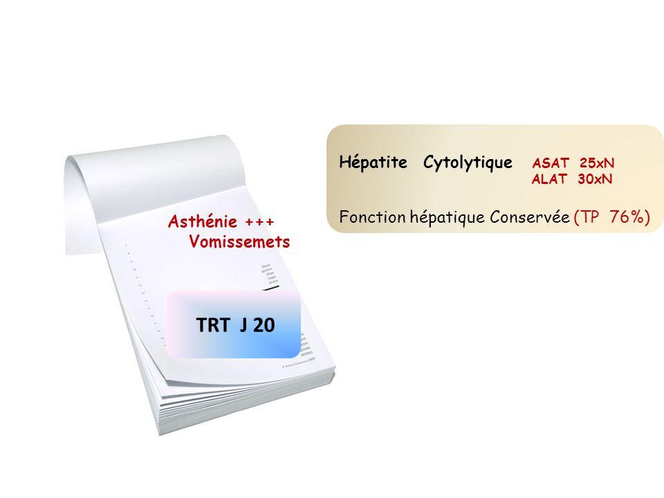 TRT J 20 Asthénie +++ Vomissemets Hépatite Cytolytique ASAT 25xN ALAT 30xN Fonction hépatique Conservée (TP 76%)